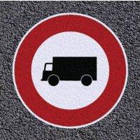 Thermoplastische vloermarkering - Verboden voor vrachtwagens