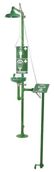 Vorstbestendige nood- en oogdouche met spoelbak en signalering