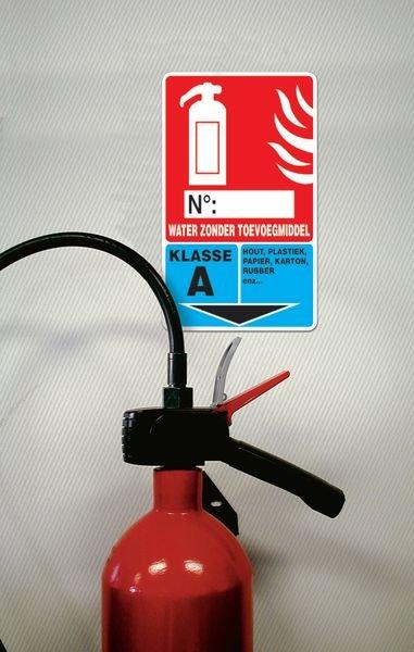 Identificatiebord brandblusser - Water zonder toevoegmiddel, klasse A - Seton