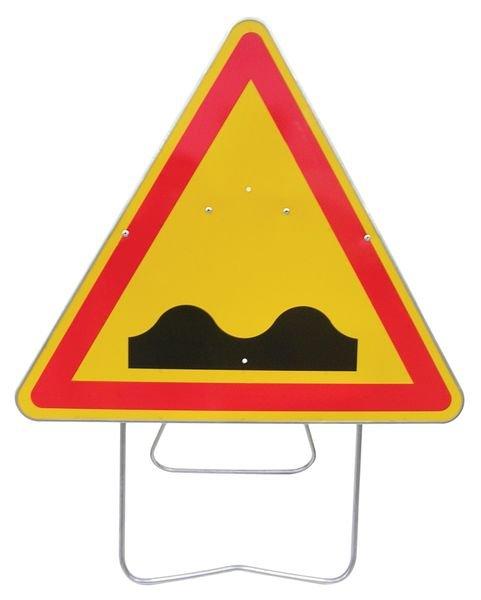 Tijdelijke waarschuwingsborden op steun Verkeersdrempel