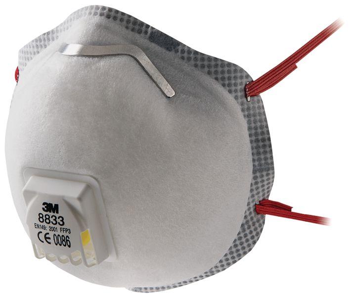 Wegwerp FFP3-stofmasker 3M™ 8833, met gegolfde randen