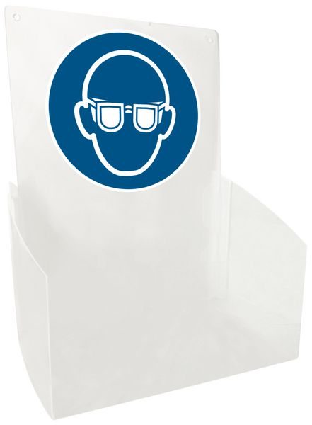 """PBM-dispenser voor bezoekers met pictogram """"Veiligheidsbril verplicht"""""""