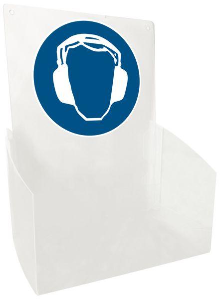 """Transparante dispenser voor PBM met pictogram """"Gehoorbescherming verplicht"""""""