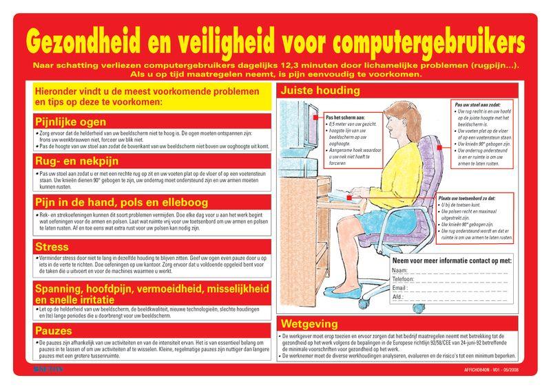 Veiligheidsposters - Gezondheid en veiligheid voor computergebruikers