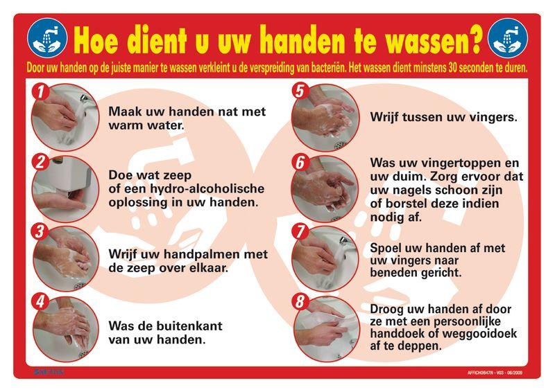 Posters voor hygiëne op het werk - Hoe dient u uw handen te wassen?