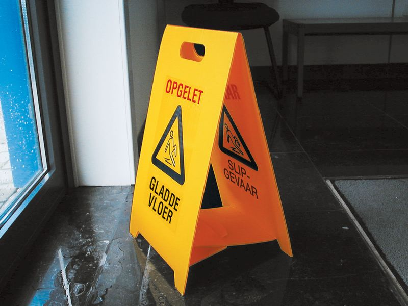 "Tweezijdig opvouwbaar waarschuwingsbord ""Opgelet gladde vloer"""