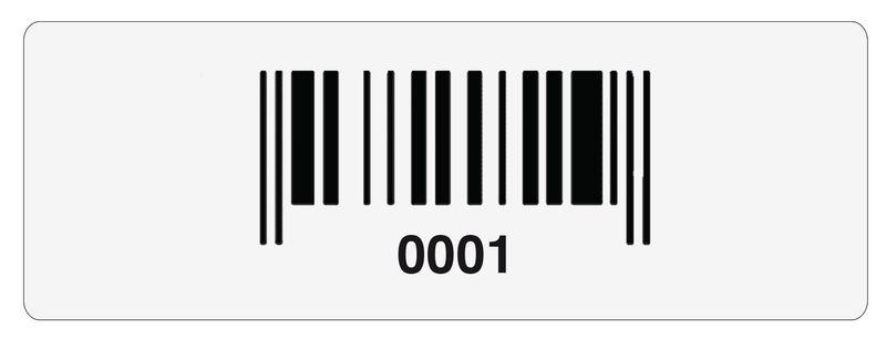 Stickers met barcode en nummering, van gelamineerd polyester