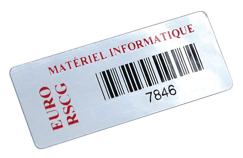 Personaliseerbare stickers met barcode, van gemetalliseerd polyester