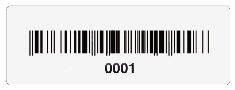 Stickers met barcode en nummering, van verzilverd polyester