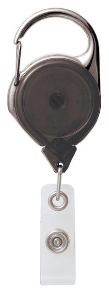 Badgehouder met oprolmechanisme en karabijnhaak