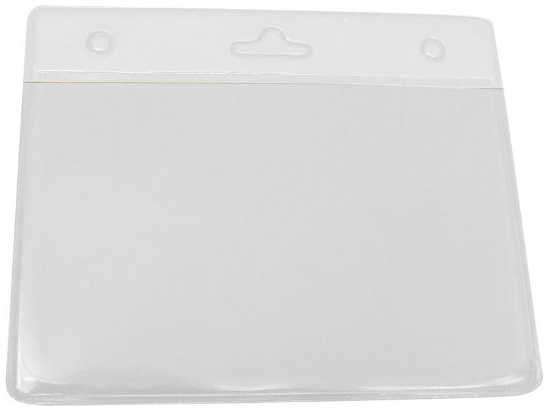 Soepele badgehouder van transparante kunststof met gekleurde bovenkant