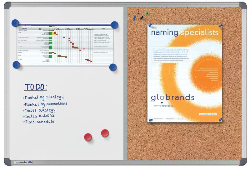 Combinatie whiteboard en prikbord