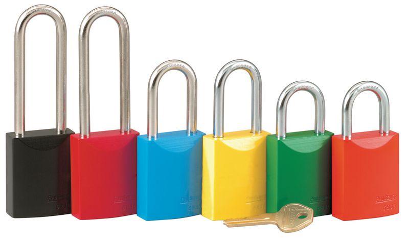Felgekleurde aluminium hangsloten met identieke of verschillende sleutels
