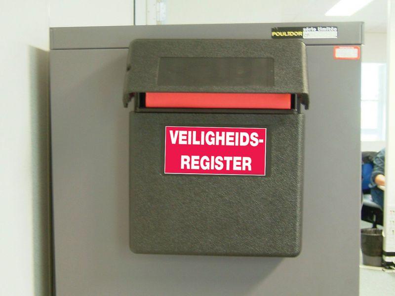 Verzegelbare opbergkast voor veiligheidsregisters