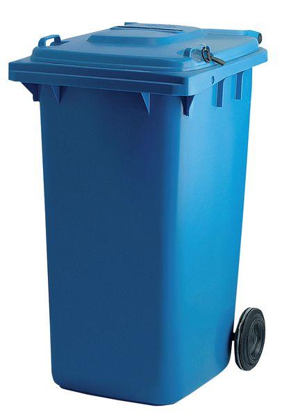 Blauwe vuilnisbak voor vertrouwelijke documenten