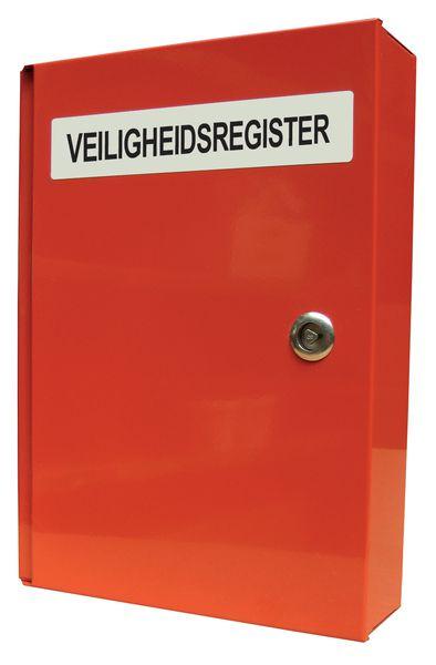"""Metalen documentenkast met tekst """"Veiligheidsregister"""""""