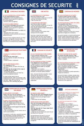 Informatieve poster met veiligheidsinstructies voor hotels, in 9 talen