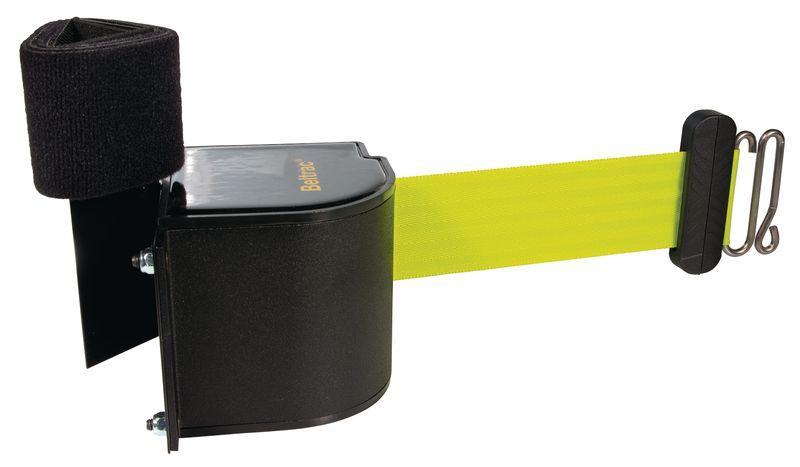 Wandcassette met fluogeel, uittrekbaar afzetlint en velcro
