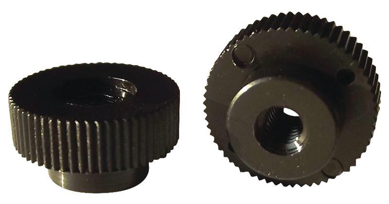 Zwarte kartelmoeren voor zuignappen met draadeind