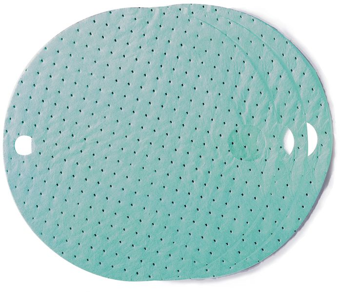 Ronde absorptiedoeken voor op het deksel van vaten met industriële vloeistoffen