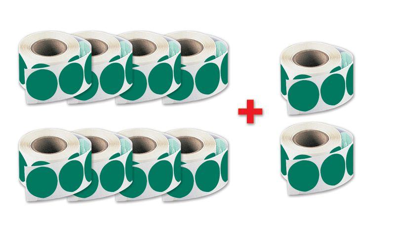 Set van 8 rollen ronde stickers + 2 gratis
