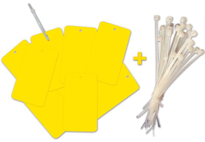 Set van 500 plastic hanglabels + 500 witte kabelbinders
