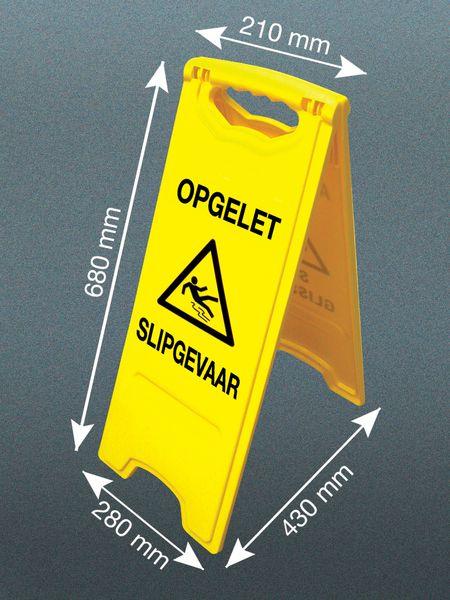 """Tweezijdig opvouwbaar waarschuwingsbord """"Opgelet slipgevaar"""""""