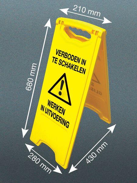 Tweezijdig waarschuwingsbord - Werken in uitvoering