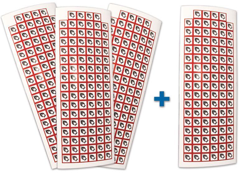 """Pack van 3 + 1 kaarten van GHS pictogrammen """"Corrosief materiaal"""""""