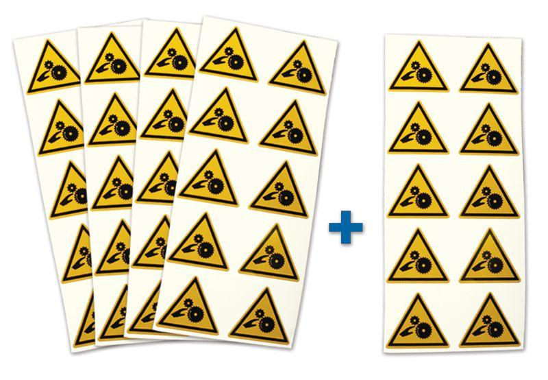 "Set waarschuwingsstickers - 4+1 vellen ""Verbrijzelingsrisico, gladde rollen"""
