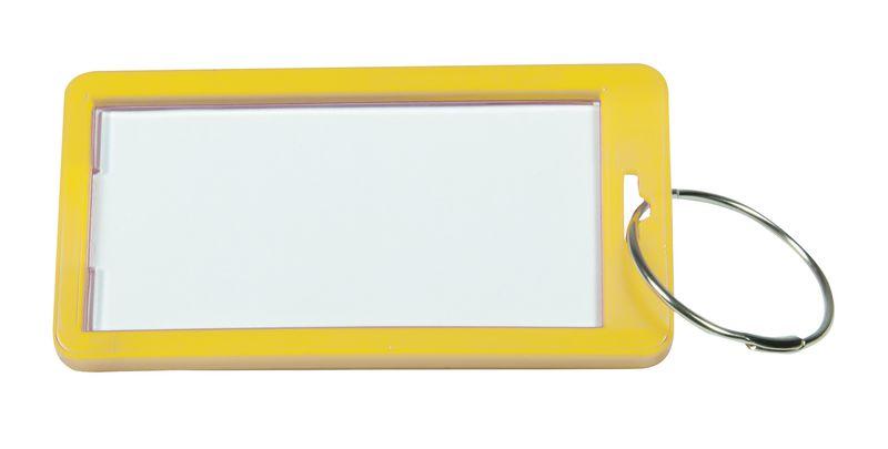 Herbruikbare sleutelhanger met groot label en sleutelring van hard plastic