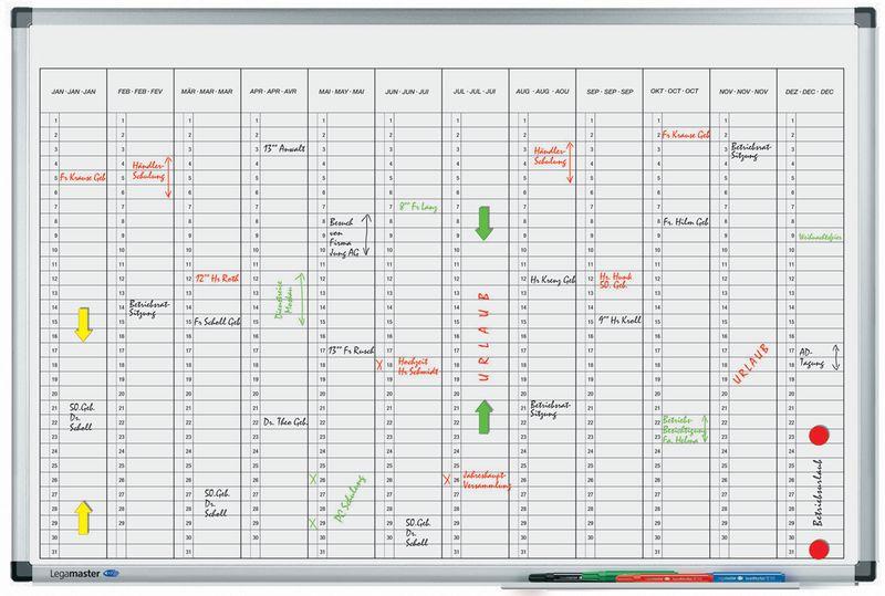 Magnetische planborden voor jaarplanning