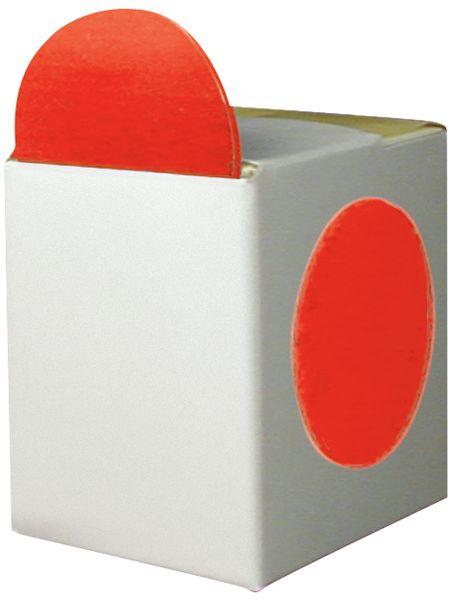 Gekleurde, ronde stickers van papier met verdeeldoos