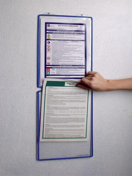Modulaire affichehouder met halfharde hoesjes, voor muurbevestiging