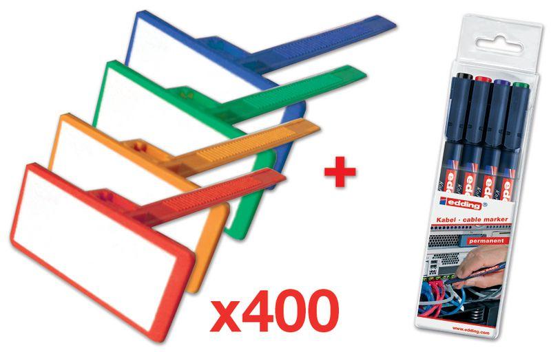 Set van 4000 nylon kabelbinders met beschrijfbaar label + 4 onuitwisbare markers