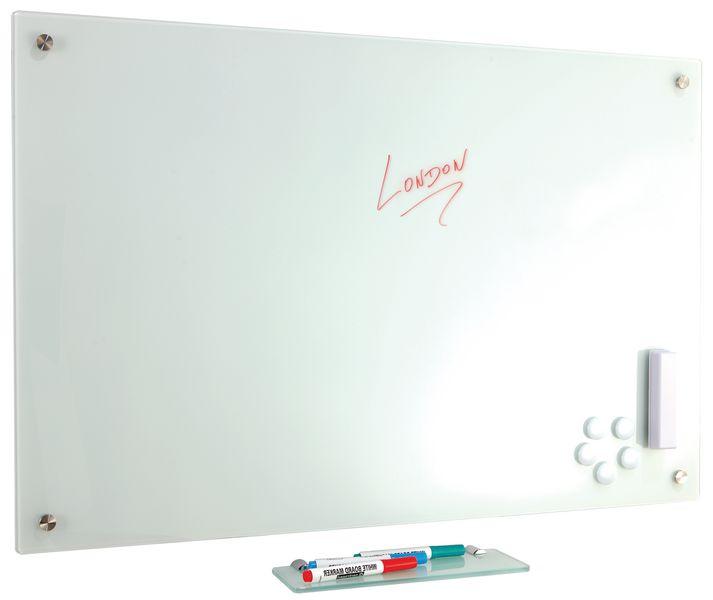 Stijlvol, glazen whiteboard met pennenbakje en accessoires