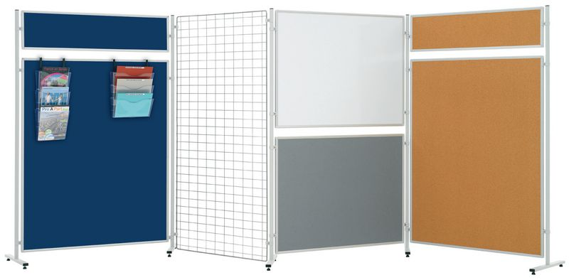 Standaard voor kurkbord, wit bord en moduleerbare tentoonstellingsroosters