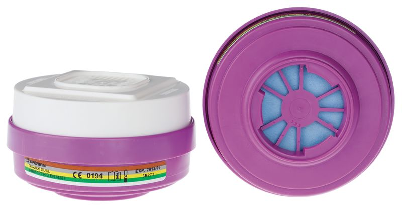 Filters voor halfgelaatsmaskers met dubbele filter, klikbevestigingssysteem