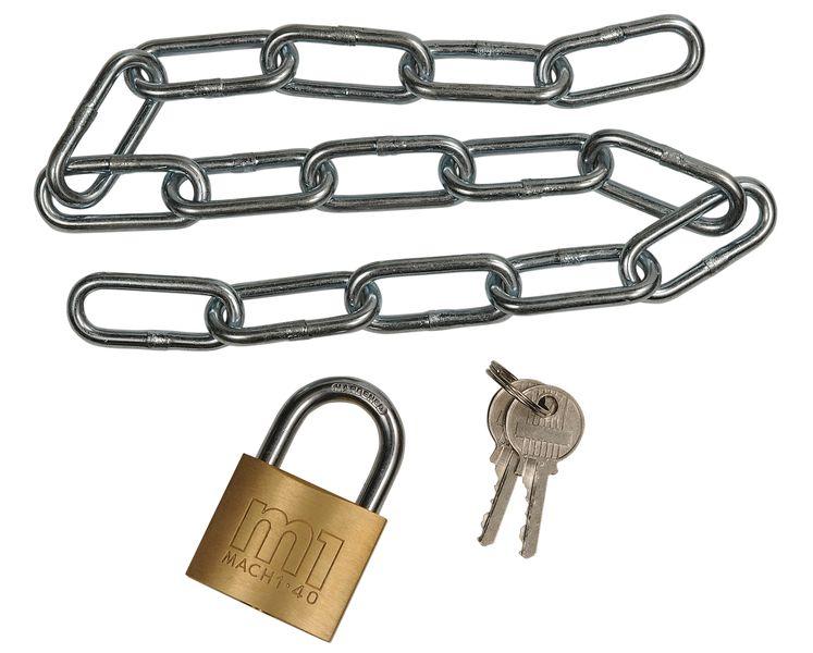 Stalen kettingslot met hangslot voor machine-veiligheidshek