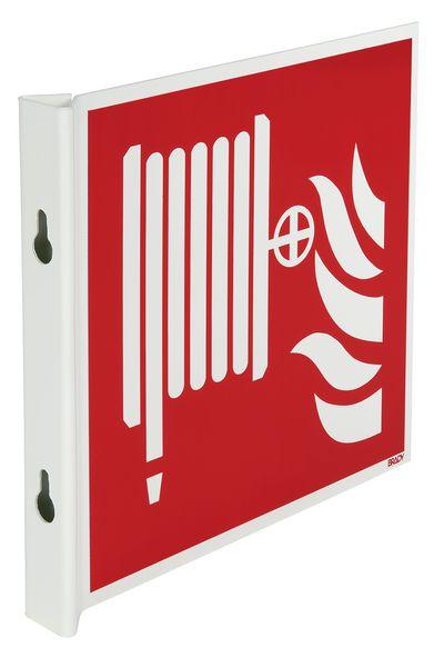 """Haakse of wigvormige brandveiligheidsborden ISO 7010 """"Brandslang"""" - F002"""