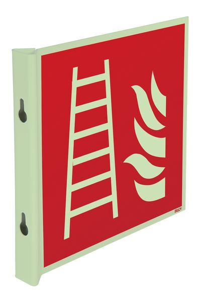 """Fotoluminescent, haaks of wigvormig brandveiligheidsbord EN ISO 7010 """"Brandladder"""" - F003"""
