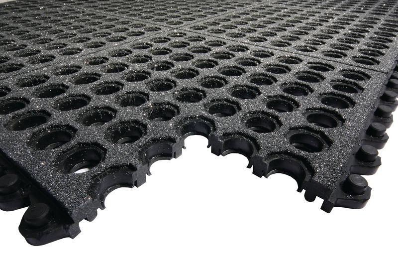 Modulaire ringmat met boorden voor olieachtige of vochtige omgeving