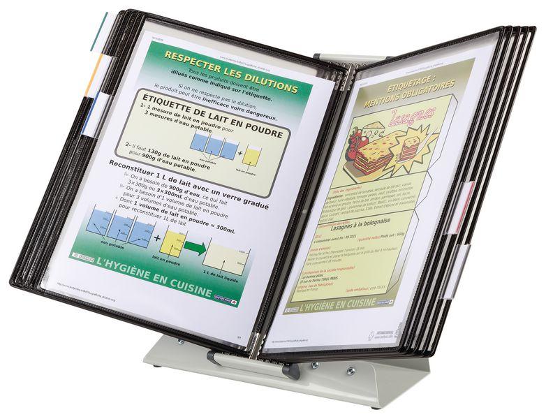 Antimicrobiële documentdisplay op standaard met 10 documenthoezen