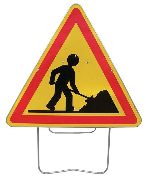 Tijdelijke waarschuwingsborden op steun 'Werkzaamheden'