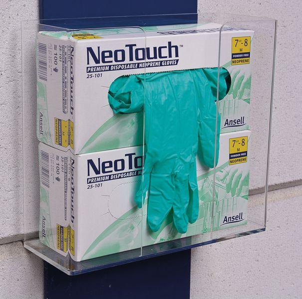 Kit met dispenser + chemisch bestendige wegwerp handschoenen Ansell