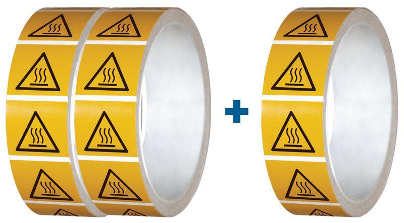 """Set van 3 rollen waarschuwingsstickers ISO 7010 """"Warm oppervlak"""" - W017 (2+1 gratis)"""