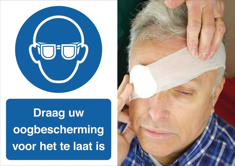 Veiligheidsposter gevolgen - Draag uw oogbescherming - M004