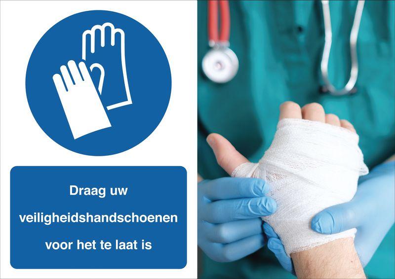 Veiligheidsposter gevolgen - Draag uw handschoenen - M009