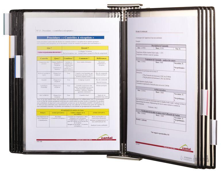Antimicrobiële documentdisplay van inox voor muurbevestiging met 10 hoezen