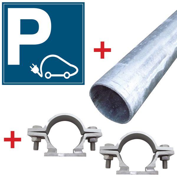 Kit: parkeerbord voor elektrische wagen met bevestigingsmateriaal